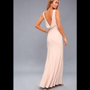 Lulus call my name blush pink backless maxi dress